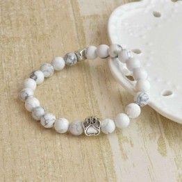 Paw Print Charm Stone Bracelet