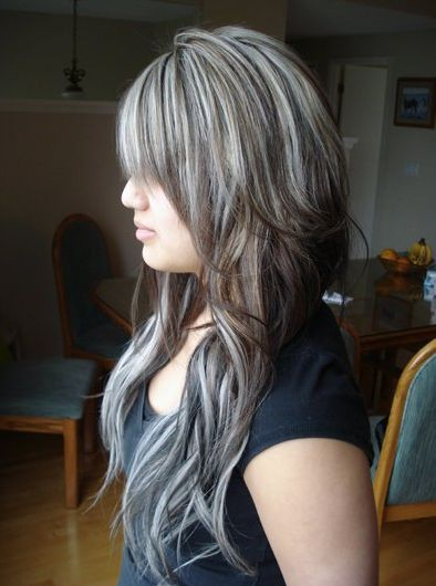 Brown Hair With Chunky Platinum Highlights Black Hair