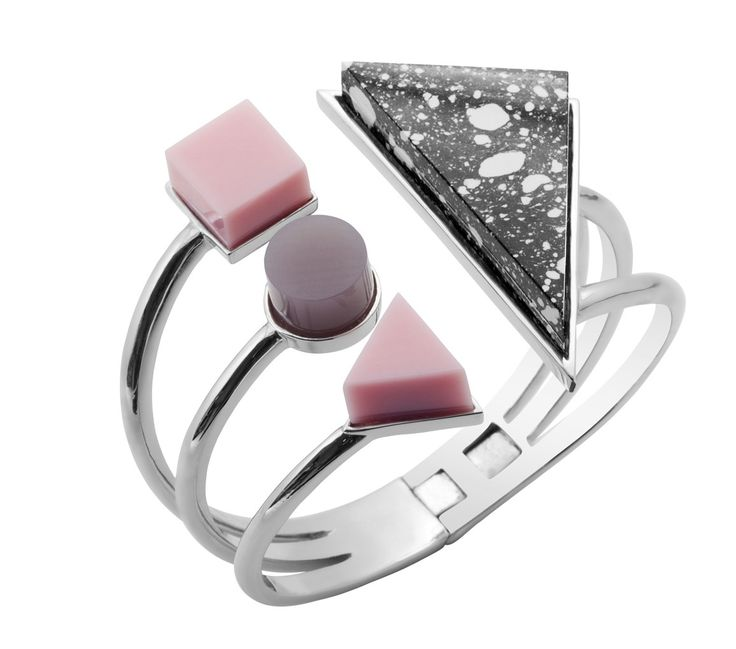 BTS6 Bracelet with Grey,Pink and White Marble Eshvi  Rodium plated cuff bracelet with black and white, pink and grey resin details The Box Boutique, This Must Be The Place, E-commerce, Fashion, Luxury Brands, Free UK DELIVERY, International Shipping, Buy Now, Jewelry, Women's Fashion