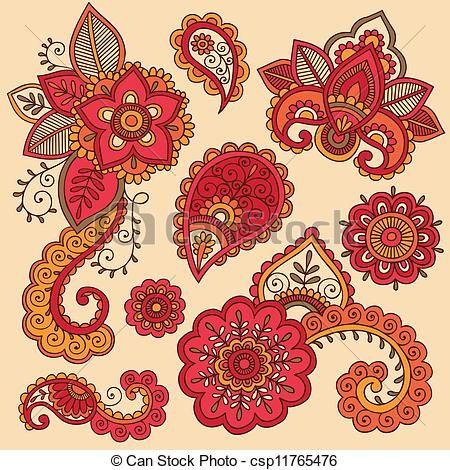 Henna Doodles Mehndi Tattoo Set - csp11765476