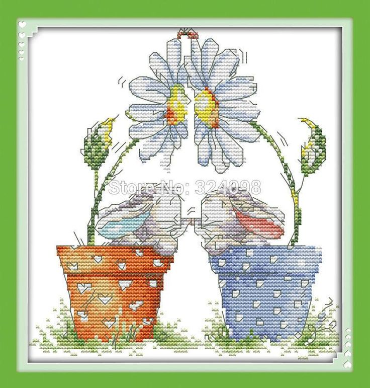 [Visit to Buy] Wholesale Needlework,Stitch,14CT Cross Stitch,Sets For Embroidery Kits,Little Rabbits in Pot Counted Cross-Stitching #Advertisement