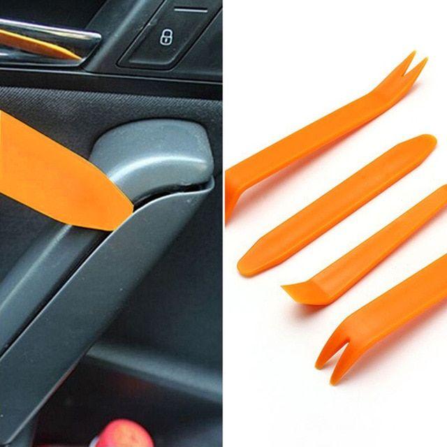 Universal Car Door Plastic Trim Panel Clip Dash Radio Removal Pry Tools Kit 4pcs