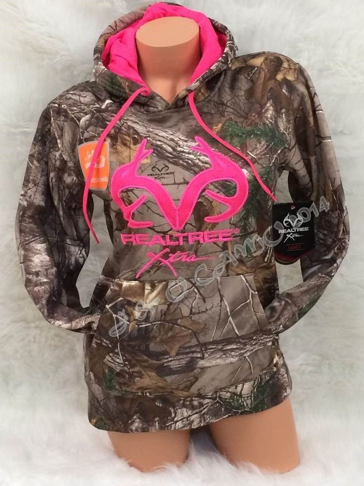 BRAND NEW!!! Womens REALTREE Camo Pink Accents Pullover Hoodie S M L XL #Realtree #Hoodie S