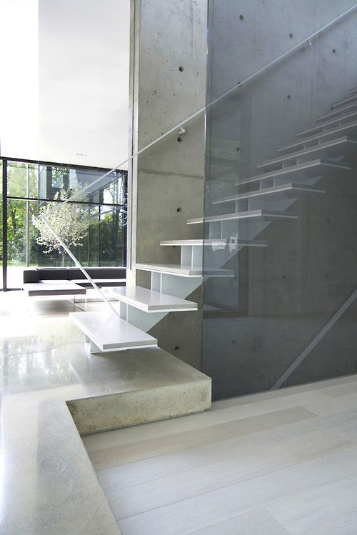 Minimalist Contemporary Interior Design Glass Stair Oakville Residence By Guido Costantino