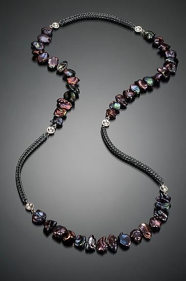 Continuous Strand Necklace by Ann Cahoon: Silver and Pearl Necklace available at www.artfulhome.com