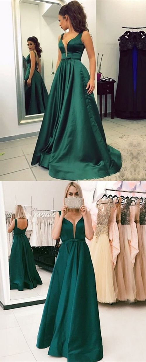696c28044eb4b modest dark green v neck prom dresses with pockets, elegant straps hunter  green evening gowns, simple low back party dresses with pleats #promdress  ...