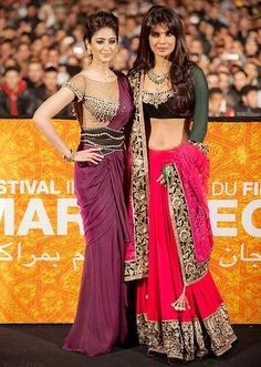 Illeana D'Cruz in Tarun Tahiliani sari gown and Priyanka Chopra in Manish Malhotra lehenga