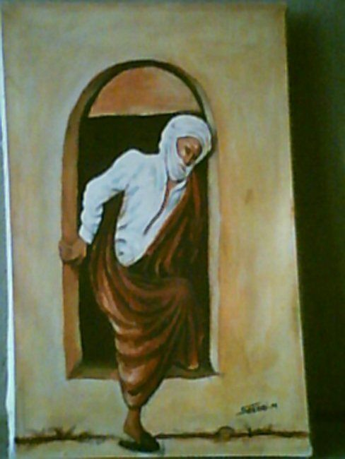 LE VIEILLARD DU SUD TUNISIEN - Painting,  34x51 cm ©2003 by Mohamed Sakhri -
