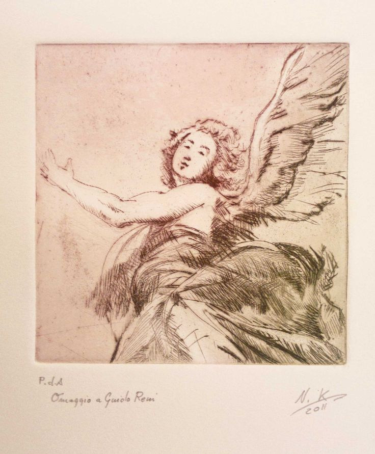 """Angelo """"omaggio a Guido Reni"""" 2011 Etching puntasecca and 2 colors print"""