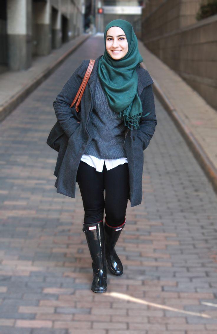 Hijab & Hunter boots
