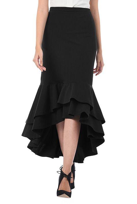 Ruffle high-low hem cotton knit skirt #eShakti