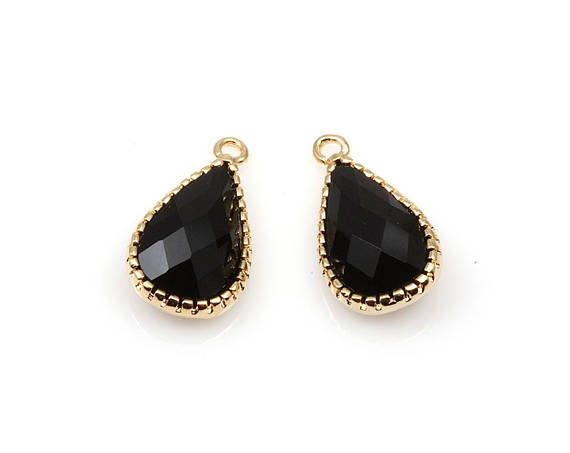 2pcs  Black Onyx Color and Gold Framed Glass Teardrop Pendant
