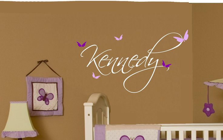 Nursery Wall Decor Butterflies : Baby girl wall decal name vinyl nursery decor butterfly