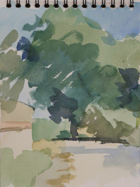 Mas Fabian.  Watercolour 10 x 7 ins.  Philip Richardson