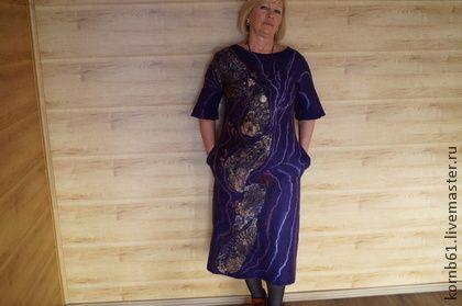 """Платье """" Пейсли """" - тёмно-фиолетовый,пейсли,платье,платье валяное,платье нуно"""