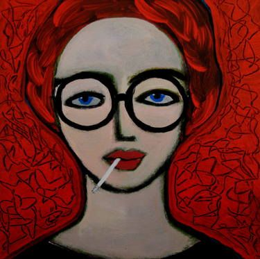 "Saatchi Art Artist Nelly Van Nieuwenhuijzen; Painting, ""Antonia with cigarette"" #art"