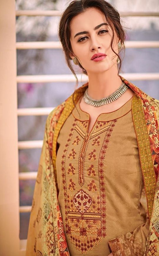 28f56a5c6d House Of Lawn Naitra Pure Jam Satin Print With Designer Embroidery Suit 106