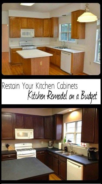 Remodel your Kitchen on a Budget - Restain Kitchen Cabinets, Paint Countertops, Add Moulding for a more expensive look