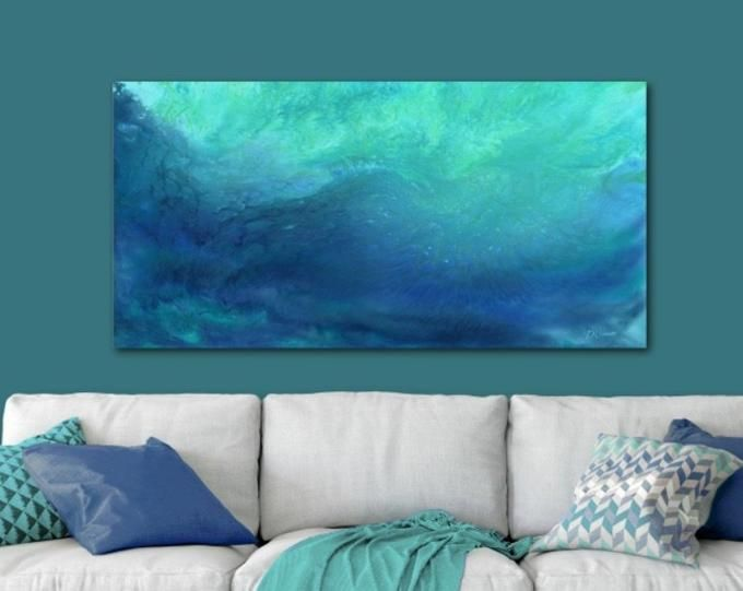 Ocean Sunset Wall Art Aqua Teal Gray Blue White Large Canvas Square Coastal Beach House Decor Bedroom Living Room Bathroom Office Sunset Wall Art Ocean Sunset Blue Grey Walls