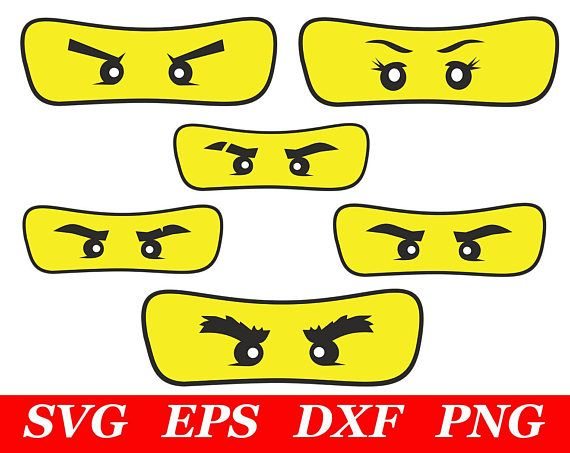 6 Pieces Ninja Eyes Mask Svg In 2020 Ninja Birthday Parties