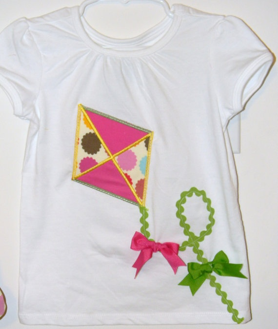 Girls kite applique shirt. By Sew Adorable Too via Etsy.