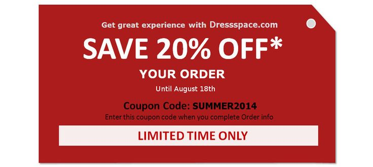 Get great experience with Dressspace.com SAVE 20% OFF. Your order until August 18th 2014 Coupon Code: SUMMER2014 Enter this coupon code when you are complete order info To know more: http://www.dressspace.com/