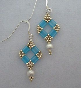 ... Hand Beaded Earrings Blue Tila Beads, Silver Beads Crystals Wire Hooks More