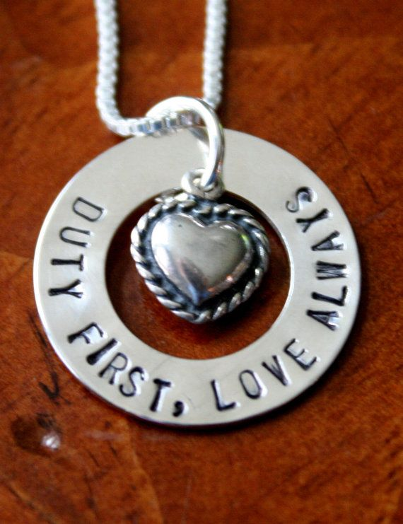 Military, Army, National Guard Awareness Name Charm Necklace (Duty First, Love Always) on Etsy, $88.00