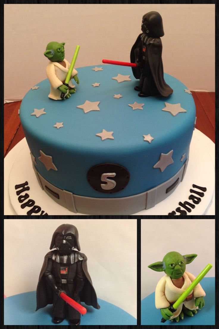 Star Wars cake - all fondant. Yoda and Vader figures made from fondant. Okay....I just have to apologize for the slightly obscene pose of Darth Vader! My customer was kind enough not to mention it, but she must have been thinking it, right?!  Lol!