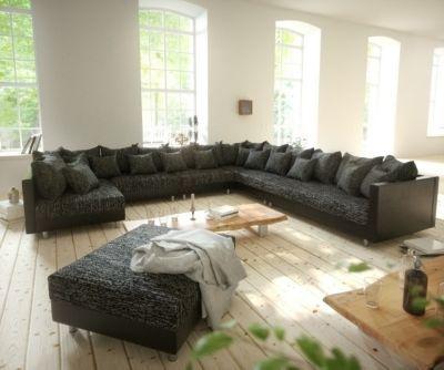 Couch Clovis XXL Schwarz Mit Hocker Ottomane Rechts Wohnlandschaft Modulares Sofa Jetzt Bestellen Unter Moebelladendirektde Wohnzimmer Sofas