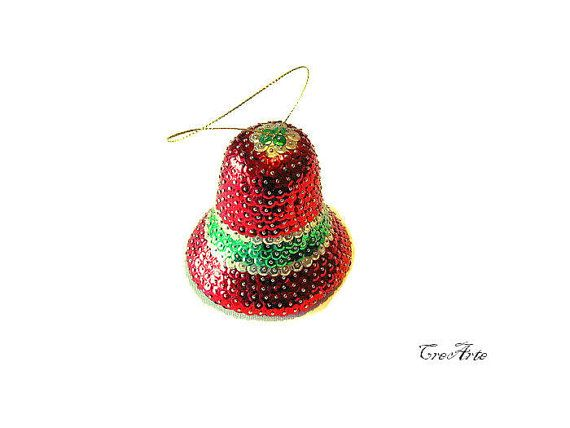 Sequin Bell Ornament Sequin Christmas Decoration by CreArtebyPatty