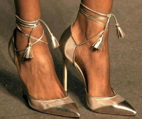 Manolo Blahnik Golden Lace Up Heels | Women's Shoes Daily #manolo