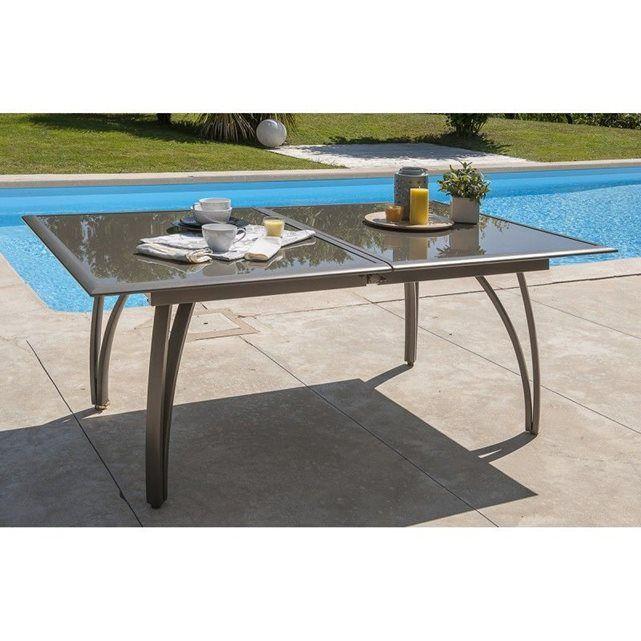 Table aluminium avec plateau verre fumé Cappuccino LE REVE CHEZ VOUS
