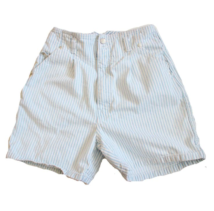 Vintage 90s High Waist Pinstripe Seersucker Blue and White Denim Jean Shorts Women S - Nuovo by bluebutterflyvintage on Etsy