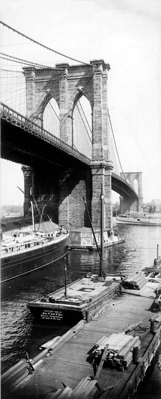 1896 Brooklyn Bridge New York City Vertical Panoramic Photo.  Vintage photos of NYC.