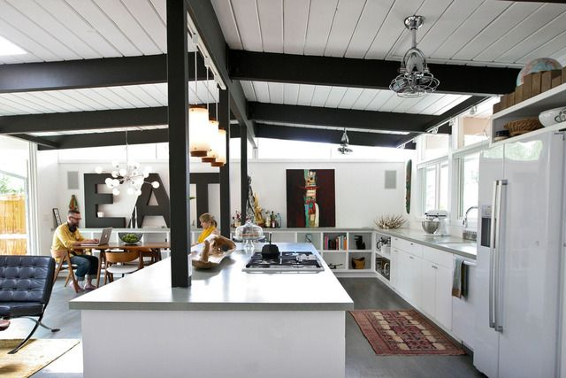 Like bottom only cabinets and big EAT letters & the contrasting black beams