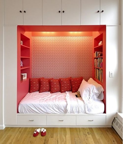 built-in bed    I would love to do this!! It looks amazing! It's like a window seat & a bed all in one!