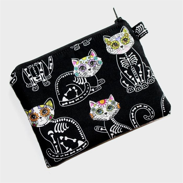 Medium Pouch with Zip in Pretty Skeleton Cat Fabric