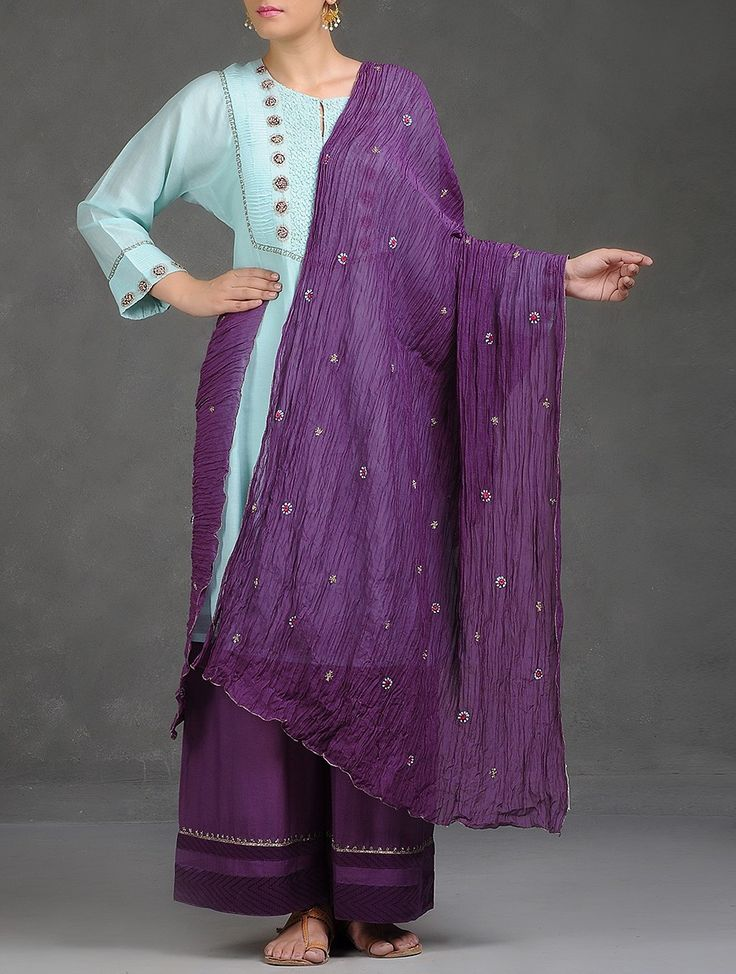 Buy Violet Applique Zari and Silk Thread Embroidered Cutdana Embellished…