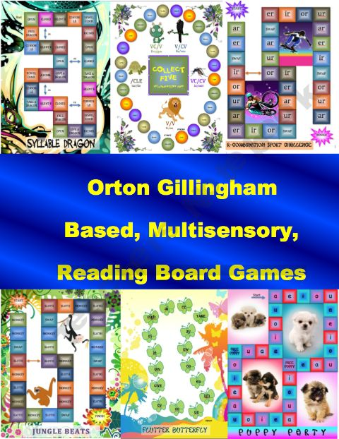 Reading Board Games - Orton Gillingham, Phonics Fun