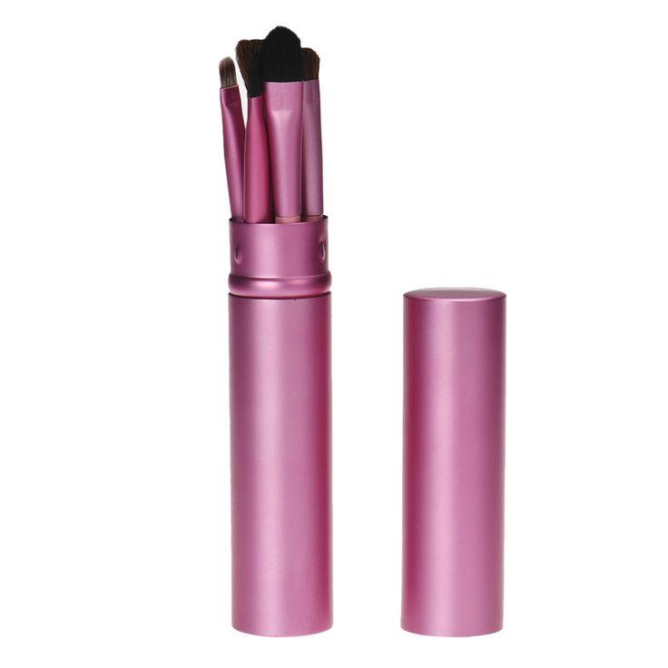 2017 Hot   5Pcs/Set Makeup Brush Goat hair Brush Set brush container  Mar23