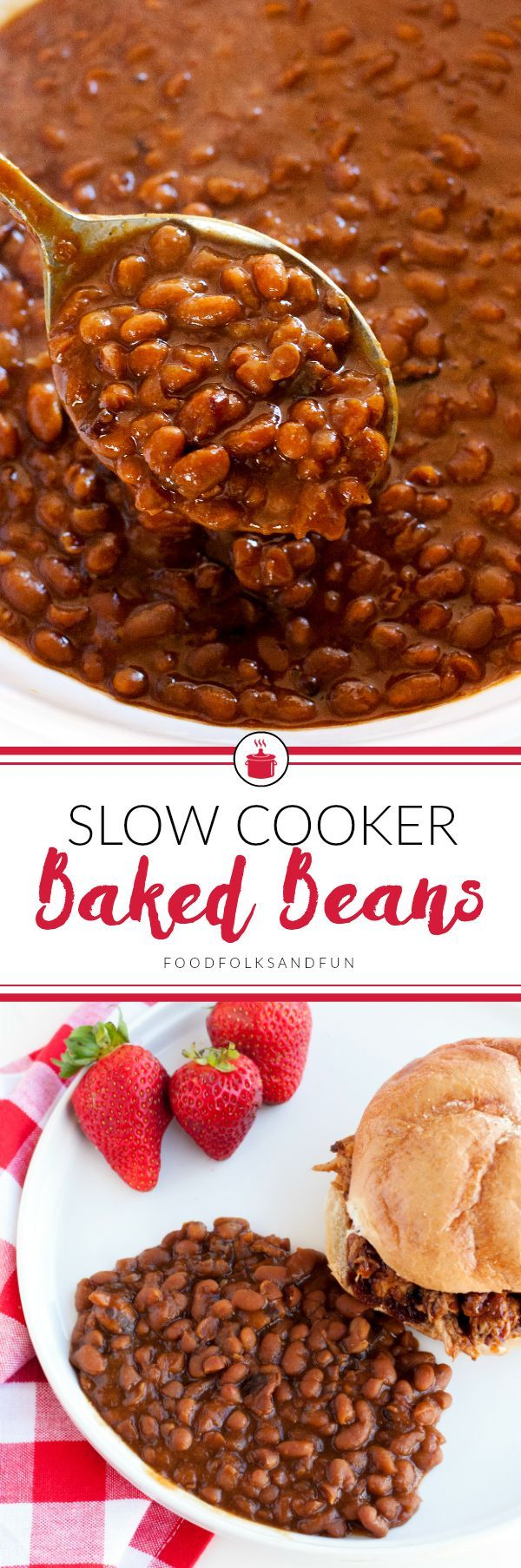 This Slow Cooker Boston Baked Beans recipe is everything baked beans should be: thick, saucy, savory with a touch of sweet. Come see how I made the classic Boston Baked Beans recipe easier by making it in the slow cooker! | Best Baked Beans | Easy Baked B