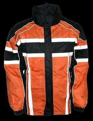 MOTORCYCLE MOTORBIKE RAIN GEAR MEN'S RAIN SUIT BLK&ORANGE WATERRESISTA – Leather Place