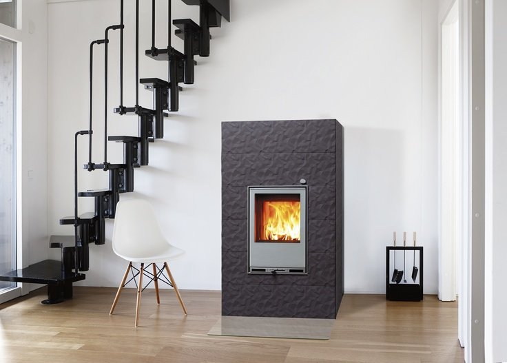 Tulikivi Kide 4 fireplace in dark grey.