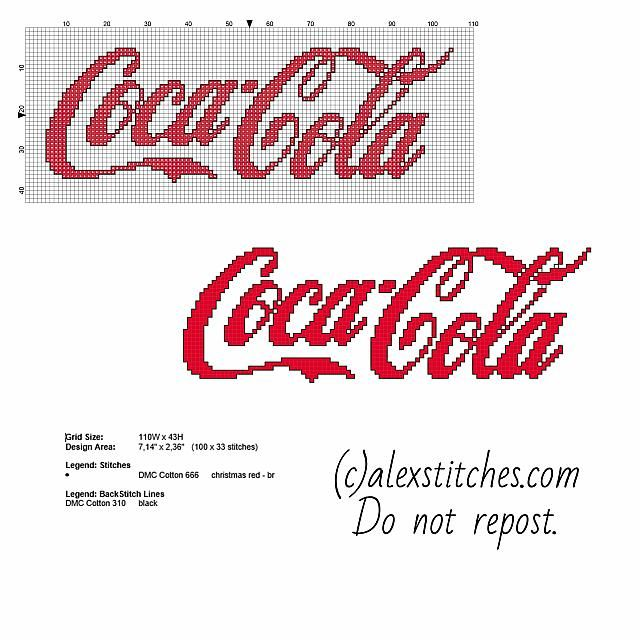 Coca Cola logo free cross stitch pattern download
