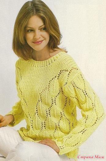 Пуловер с треугольной кокеткой. Спицы.