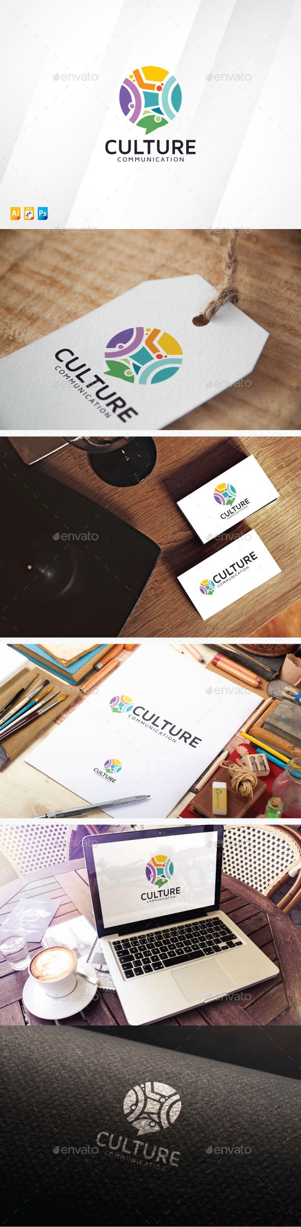 Culture Communication Logo Design Template Vector #logotype Download it here: http://graphicriver.net/item/culture-communication/13827144?s_rank=335?ref=nesto