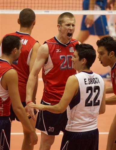 David Smith of the United States celebrates with teammate Erik Shoji (Photo: FIVB) #FIVB #volleyball #usasports