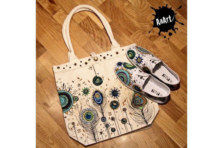 A unique set of hand painted shoes with cotton bag.