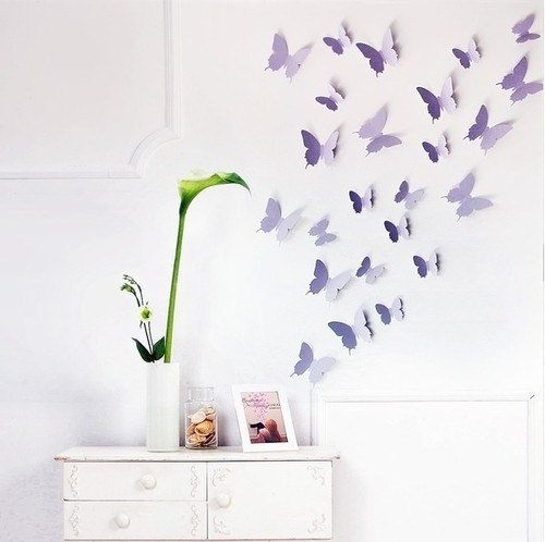 Popular Lovely Vivid D Shine Butterflies DIY Wall Stickers Art by WallOR